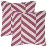 "Set of 2 Cadiz Textural Cream and Amethyst 18"" Throw Pillows"