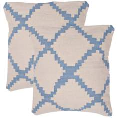 "Cadiz Textural Ivory and Sky Blue 18"" Throw Pillow"