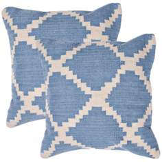 "Cadiz Textural Sky Blue and Ivory 18"" Throw Pillow"