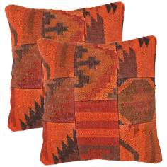 "Bedouin Textural Red and Orange 18"" Square Throw Pillow"