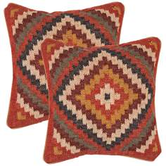 "Bedouin Textural Red 18"" Square Throw Pillow"