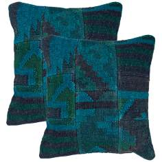 "Bedouin Textural Indigo Blue 18"" Square Throw Pillow"
