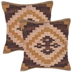 "Bedouin Textural Earth Hues 18"" Square Throw Pillow"