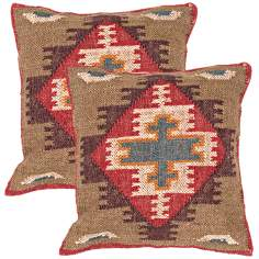 "Bedouin Textural Warm Earth Hues 18"" Throw Pillow"
