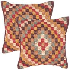 "Bedouin Textural Earth Tones 18"" Square Throw Pillow"