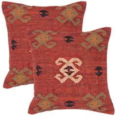 "Bedouin Textural Red and Ochre 18"" Square Throw Pillow"