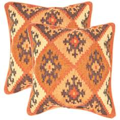 "Bedouin Textural Ochre and Cocoa 18"" Throw Pillow"