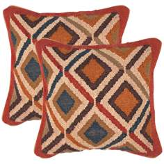 "Bedouin Textural Earth Hues and Indigo 18"" Throw Pillow"