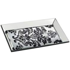 "Black Leaf Motif 18 1/4"" Wide Mirrored Glass Tray"