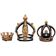 Set of 3 Crown Decorative Accents