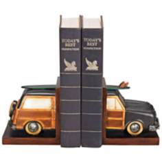 "Vintage ""Woody"" Surf Vacation Bookends"
