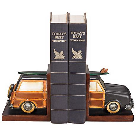"Vintage ""Woody"" Surf Vacation Bookends Set"