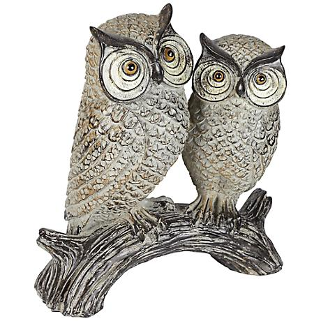 "Wood Owls on a Log 9 1/4"" High Sculpture"