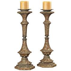 Set of 2 Belgian Carved Candle Sticks