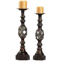 Set of 2 Rabat Mirrored Candle Holders