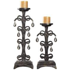 Set of 2 Teak Crystal Drop Candle Holders