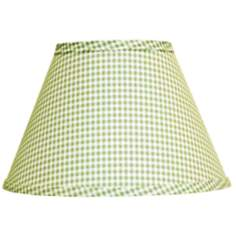 Fern Green Gingham Checked Lamp Shade 8x14x10.25 (Spider)