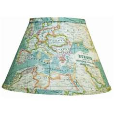 Blue World Map Lamp Shade 8x14x10.25 (Spider)