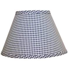 Indigo Gingham Checked Lamp Shade 10x18x13 (Spider)