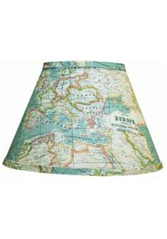Blue World Map Empire Lamp Shade 10x18x13 (Spider)