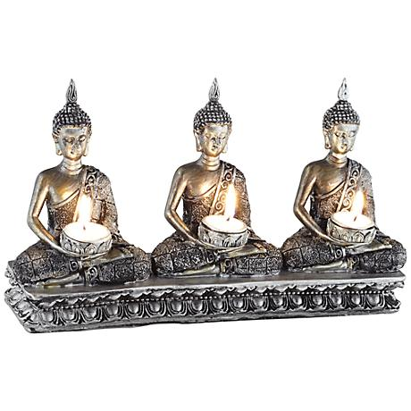 Three Sitting Buddhas Votive Candle Holder