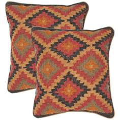 "Bedouin Textural Blue and Red 18"" Square Throw Pillow"