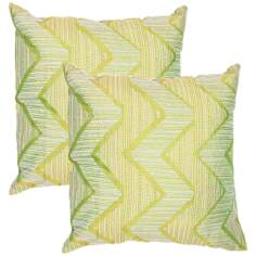 "Textural Palm Green Geo 18"" Square Throw Pillow"