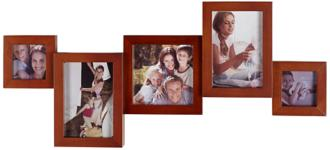 Solid Wood 5 Photo Mahogany Collage Frame (2P369)