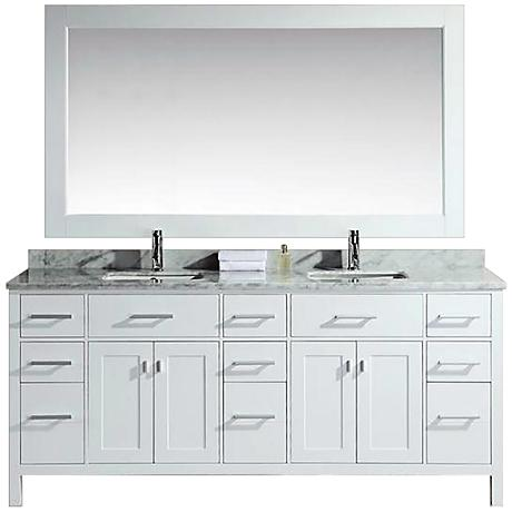 "London 78"" Wide Marble White Double Sink Vanity"