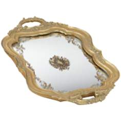 Antique Gold Mirrored Tray with Handles