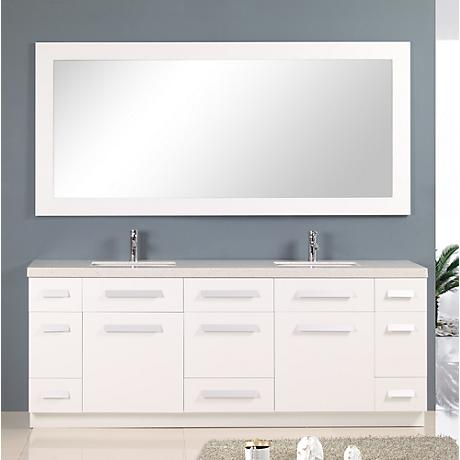 "Moscony 84"" Wide Rich White Double Sink Vanity Set"