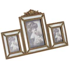 Annabelle Antique Gold and Mirror 3-Photo Frame
