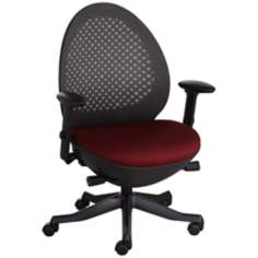 Ovo Burgundy and Black Mesh Back Adjustable Office Chair