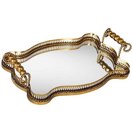 Antonia Antique Gold Leaf Mirrored Tray