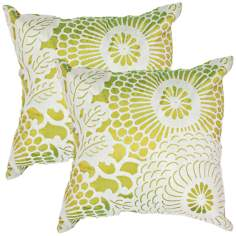 "Textural Palm Green Flora 18"" Square Throw Pillow"