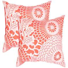 "Textural Cream and Poppy 18"" Square Throw Pillow"