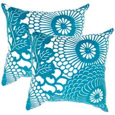 "Textural Cream and Teal Blue 18"" Square Throw Pillow"
