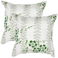 "Textural Palm Green 18"" Square Throw Pillow"