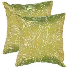 "Textural Palm Green Floral Dots 18"" Square Throw Pillow"