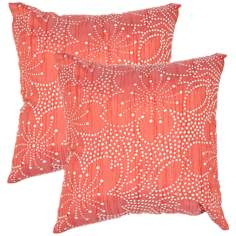 "Textural Poppy Floral Dots 18"" Square Throw Pillow"
