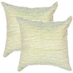 "Textural Palm Green and White 18"" Square Throw Pillow"