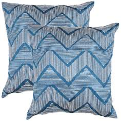 "Textural Teal Blue and Cream Zigzag 18"" Throw Pillow"