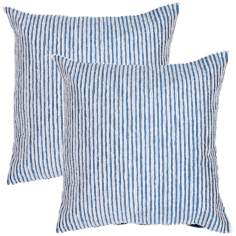 "Textural Teal Blue and Cream Striped 18"" Throw Pillow"