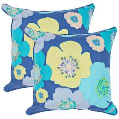 "Textural Blue Multi 18"" Square Throw Pillow"
