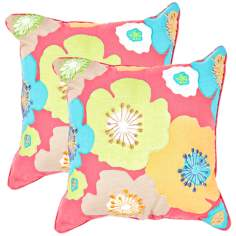 "Textural Poppy Multi 18"" Square Throw Pillow"