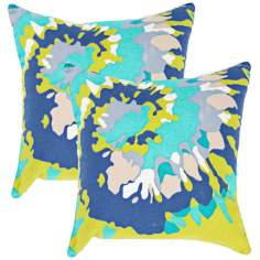 "Textural Blue Splash 18"" Square Throw Pillow"