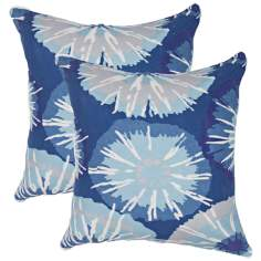 "Textural Cool Blues 18"" Square Throw Pillow"