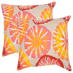 "Textural Orange and Putty 18"" Square Throw Pillow"
