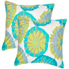 "Textural Aqua on Natural White 18"" Throw Pillow"