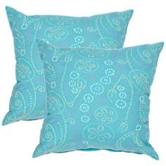 "Textural Aqua 18"" Square Throw Pillow"